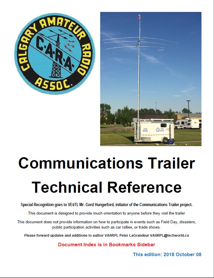 Click this image of the cover page of the Communications Trailer Technical Reference Manual to view the Acrobat document. ( 100MB )